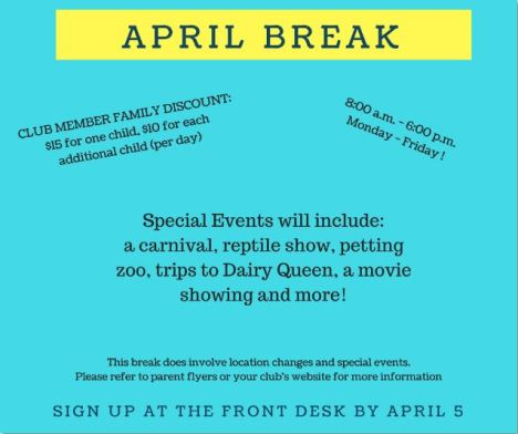 april break flier